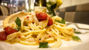 Spicy Spaghetti With Crab Cherry Tomato